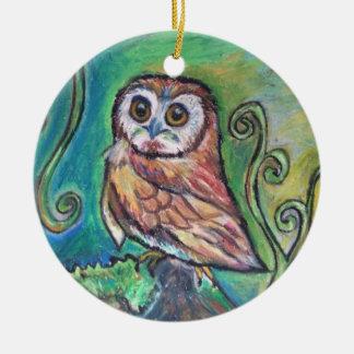 Wunderliche Eulen-Verzierung Keramik Ornament