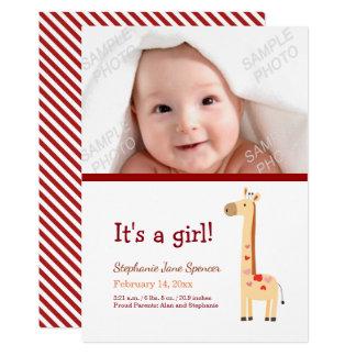 Wunderliche Giraffen-Foto-Geburts-Mitteilung 12,7 X 17,8 Cm Einladungskarte