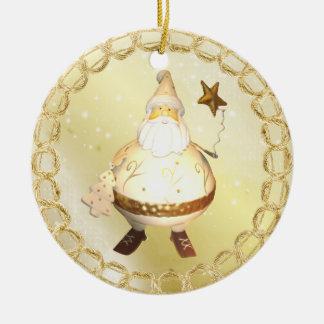 Wunderliche goldenes Glühen-Vintage Rundes Keramik Ornament
