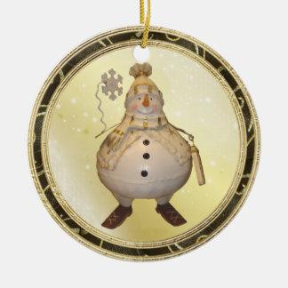 Wunderliche goldenes GlühenVintage Rundes Keramik Ornament