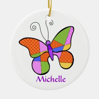 Wunderliche Kubismus-Schmetterlings-Verzierung Rundes Keramik Ornament