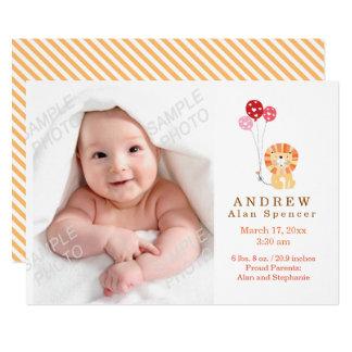 Wunderliche Löwe-Geburts-Foto-Mitteilung 12,7 X 17,8 Cm Einladungskarte