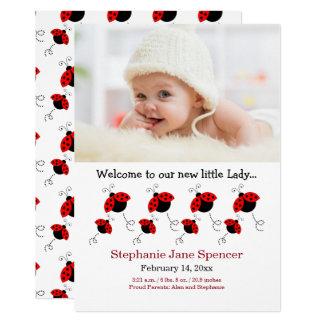 Wunderliche Marienkäfer-Foto-Geburts-Mitteilung 12,7 X 17,8 Cm Einladungskarte
