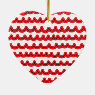 Wunderliche Ozean-Wellen rot Keramik Herz-Ornament