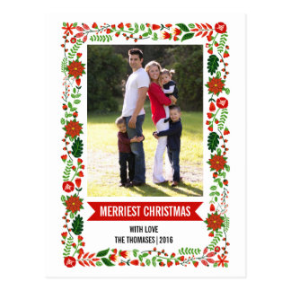 Wunderliche Poinsettias rot, grünes WeihnachtsFoto Postkarte