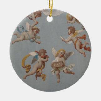 Wunderliche Renaissance-Engel-Engel Rundes Keramik Ornament