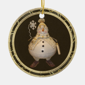 Wunderliche Vintage Snowman-Verzierung Rundes Keramik Ornament