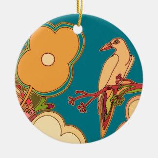 Wunderliche Vögel (irgendeine Farbe, die Sie! Rundes Keramik Ornament