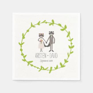 Wunderliche WaldWaschbär-rustikale Hochzeit Servietten