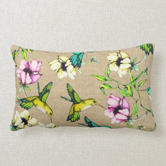 Wunderliche Watercolor-Kolibris u. Blumen Lendenkissen
