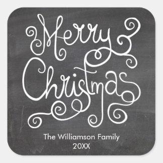 Wunderliche Weihnachtskalligraphie-Vintage Tafel Quadratischer Aufkleber