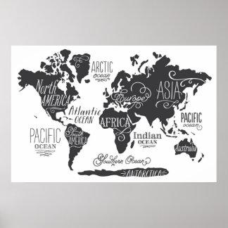 Wunderliche Weltkarte Poster