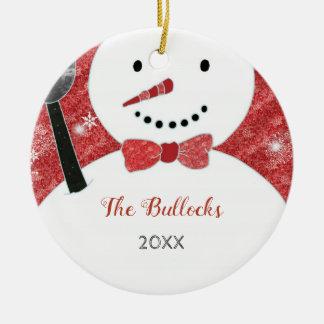 Wunderlicher Bogen-Krawatten-WeihnachtsSnowman Keramik Ornament