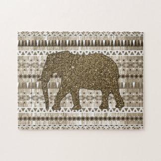 Wunderlicher Elefant-Stammes- Muster auf hölzernem Puzzle