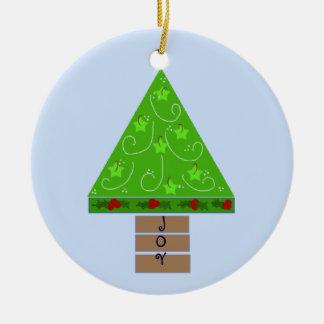 Wunderlicher grüner Weihnachtsbaum Rundes Keramik Ornament