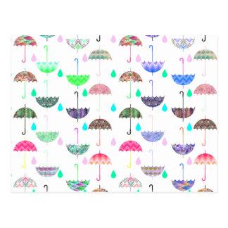 Wunderlicher heller Regenschirm-moderne Girly Postkarte