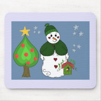 Wunderlicher Schneemann mit Birdhouse Mousepads