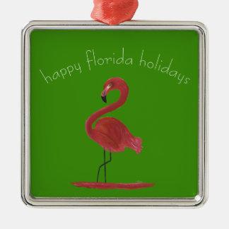 Wunderlicher und koketter rosa Florida-Flamingo Silbernes Ornament