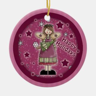 Wunderlicher Weihnachtsengel mit Puppe Rundes Keramik Ornament