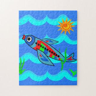 Wunderliches buntes Fisch-Flugzeug Puzzle