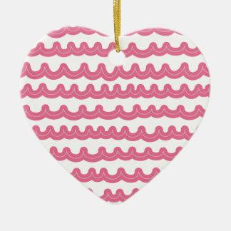 Wunderliches Ozean-Wellen-Rosa Keramik Herz-Ornament