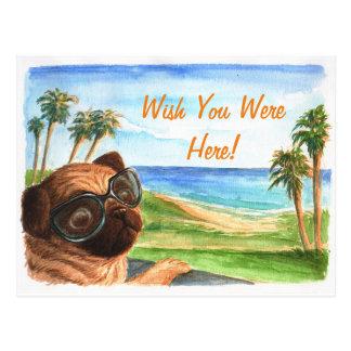 Wunsch waren Sie hier Mops Postkarte