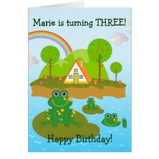 Wünsche der Frösche und alles Gute zum Geburtstag Grußkarte