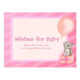 Wünsche für Baby - Koala-Babypartypostkarte Postkarten