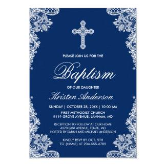 Würdevolles Marine-Blau-Spitze-Kreuz-Taufe-Foto 12,7 X 17,8 Cm Einladungskarte