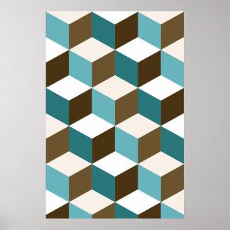 Würfel-Muster-Knickenten-Braun weiß Poster