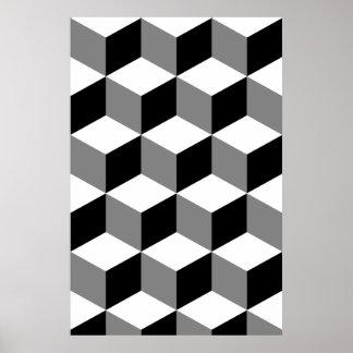 Würfel-Muster Schwarz-weiß u. grau Poster