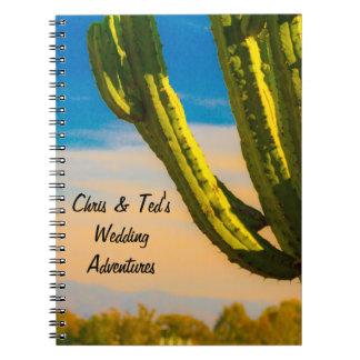 Wüsten-Kaktus-blauer Himmel-Hochzeits-Zeitschrift Notizblock