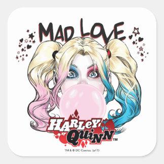 Wütende Liebe Harley Quinn des Batman-|, der Quadratischer Aufkleber