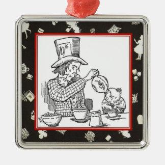 Wütender Hutmacher und Dormouse Quadratisches Silberfarbenes Ornament