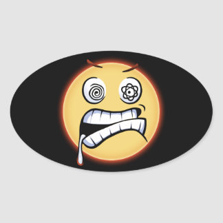 Wütendes Moji Ovaler Aufkleber