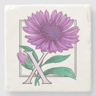 Xeranthemum Blumen-Monogramm-Grafik Steinuntersetzer
