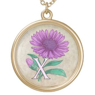 Xeranthemum Blumen-Monogramm-Grafik Vergoldete Kette
