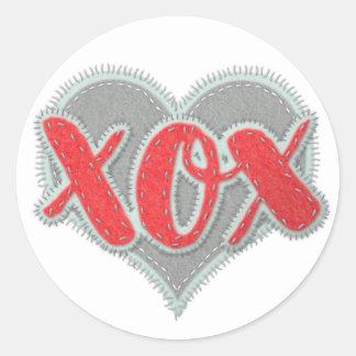 XOX handcrafted Blick Umarmungen und Küsse Runder Aufkleber