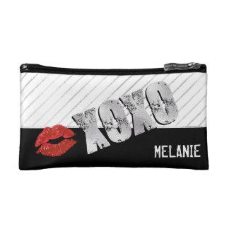 XOXO, küsst und umarmt Silber u. Rot Kosmetiktasche