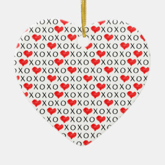 XOXO Valentinstagmuster Keramik Ornament