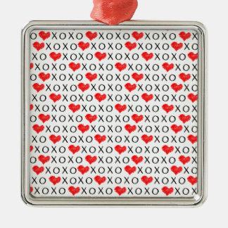 XOXO Valentinstagmuster Silbernes Ornament