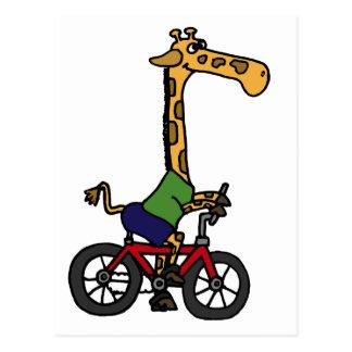 XX lustiger Giraffen-Reitfahrrad-Cartoon Postkarte