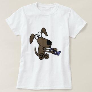 XX lustiger Welpen-Hund, der Trompete-Cartoon T-shirt