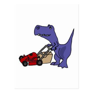 XX T-rex Dinosaurier, der Rasenmäher drückt Postkarte