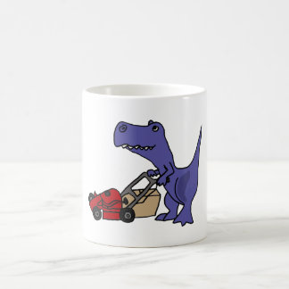 XX T-rex Dinosaurier, der Rasenmäher drückt Tasse
