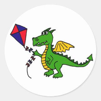 XX unglaublich witzig Drache-Fliegen-Drachen Runder Aufkleber