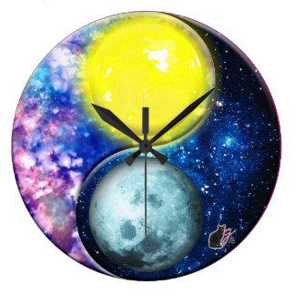 Yang-Yin/Sun-Mond Große Wanduhr
