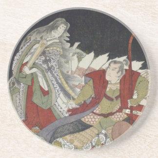 Yashima Gakutei Fox u. Miuranosuke Surimono Sandstein Untersetzer