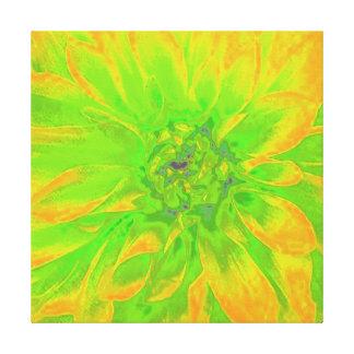 YELLOW/GREEN ABSTRAKTE DAHLIE-BLUMENBlume Leinwanddruck