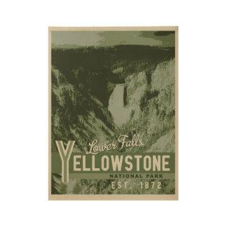 Yellowstone Nationalpark senken Fälle Holzposter